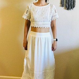 Dresses & Skirts - Cotton Two Piece Lace Set